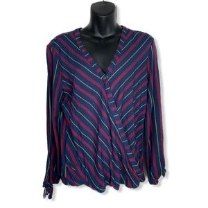 RW&Co Striped Crossover Blouse